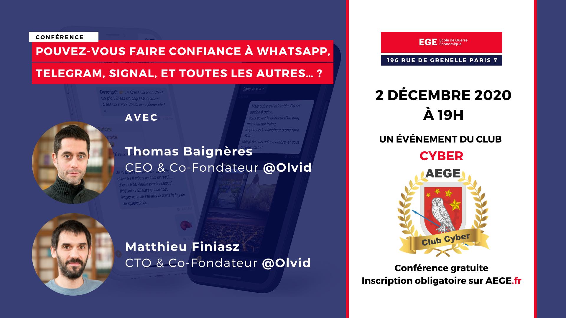 Conférence club Cyber AEGE Olvid