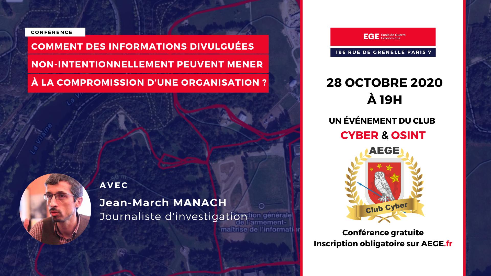 Conférence club Cyber AEGE OSINT OPSEC Manach