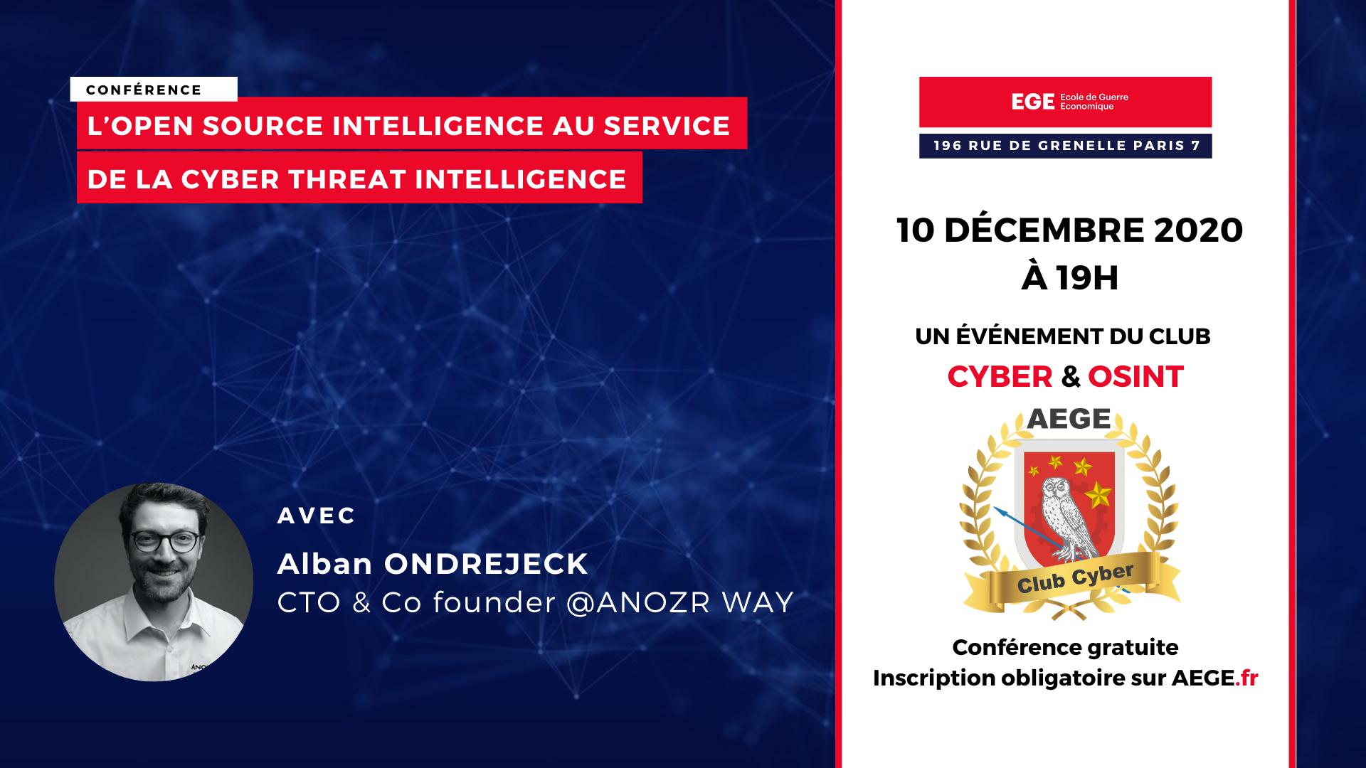 Conférence club Cyber AEGE Anozr Way OSINT